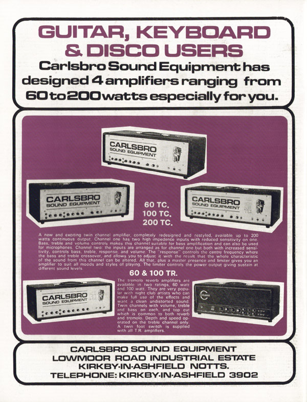 Carlsbro advertisement (1972) Guitar, Keyboard and Disco users.
