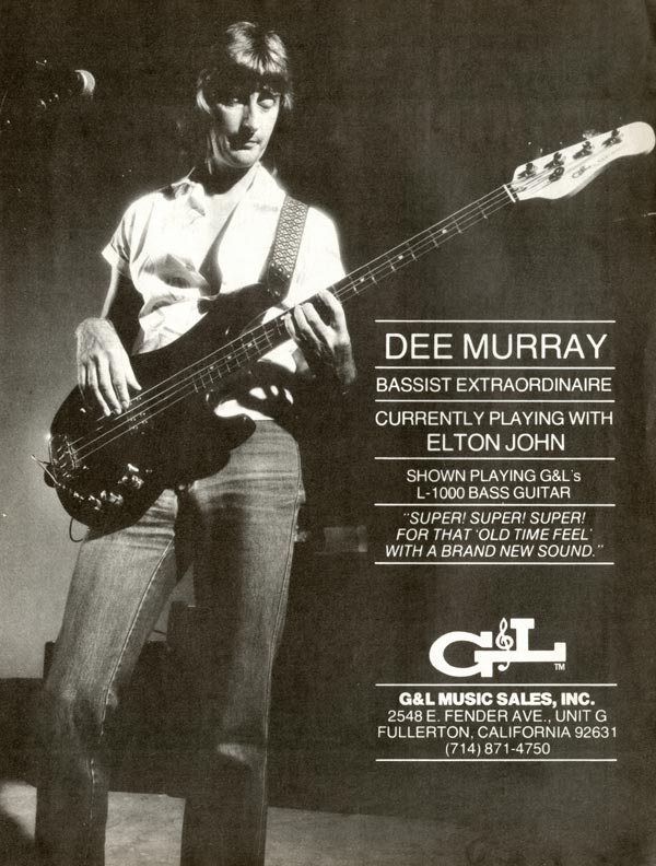 G&L advertisement (1981) Dee Murray - Bassist Extraordinaire