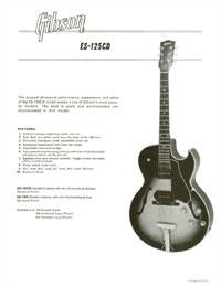 Gibson ES-125CD promo sheet