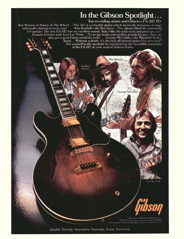 Gibson advertisement (1980) In the Gibson Spotlight...