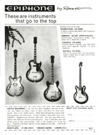 1964 advertisement for the Epiphone Casino, Sorrento, Sheraton and Rivoli bass