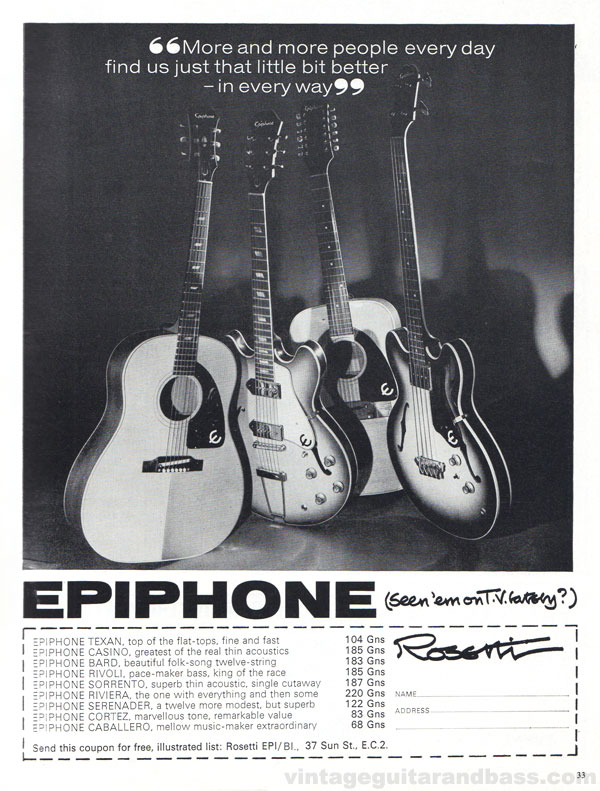 Epiphone advertisement (1966) More and More People Every Day Find Us Just That Little Bit Better - In Every Way