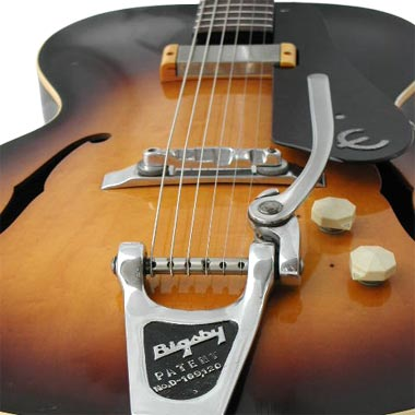 1959 Epiphone Century. The Bigsby tremolo is not stock - this would have been shipped with a trapeze tailpiece.
