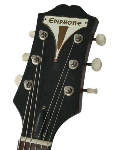 """1959 Epiphone Century. Detail of the Epiphone """"E"""" logo from the scratchplate."""
