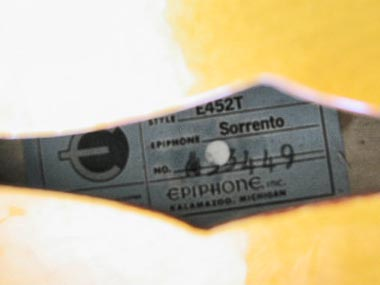 1966 Epiphone Sorrento. Detail of the Epiphone label inside the F-hole, showing model name, code, and serial number