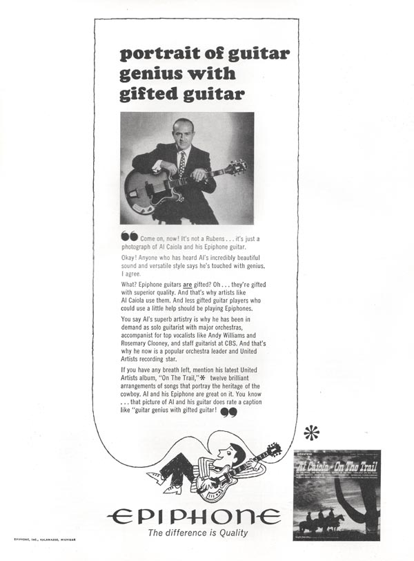 Epiphone advertisement (1965) Portrait of Guitar Genius with Gifted Guitar