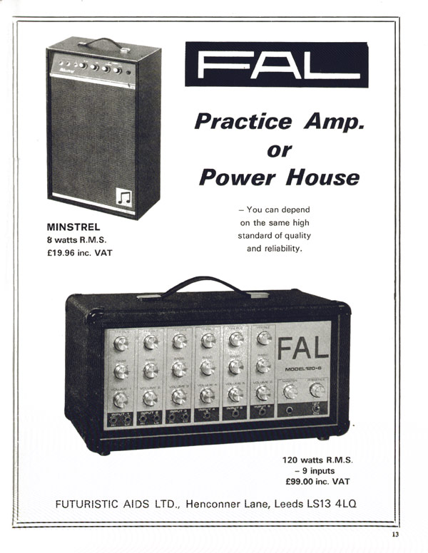 FAL advertisement (1974) Practice Amp or Powerhouse