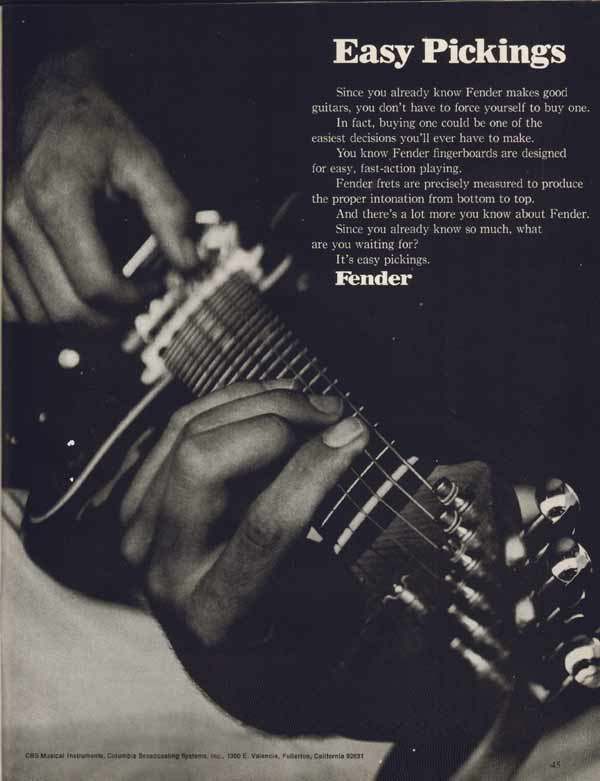 Fender advertisement (1971) Easy Pickings