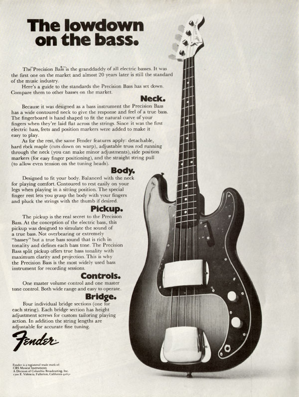 Fender advertisement (1972) The lowdown on the bass