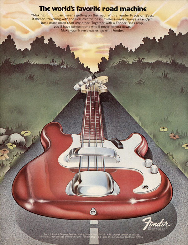 Fender advertisement (1973) The Worlds Favorite Road Machine