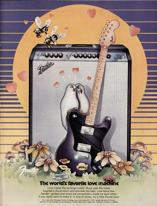 Fender advertisement (1973) The Worlds Favorite Love Machine