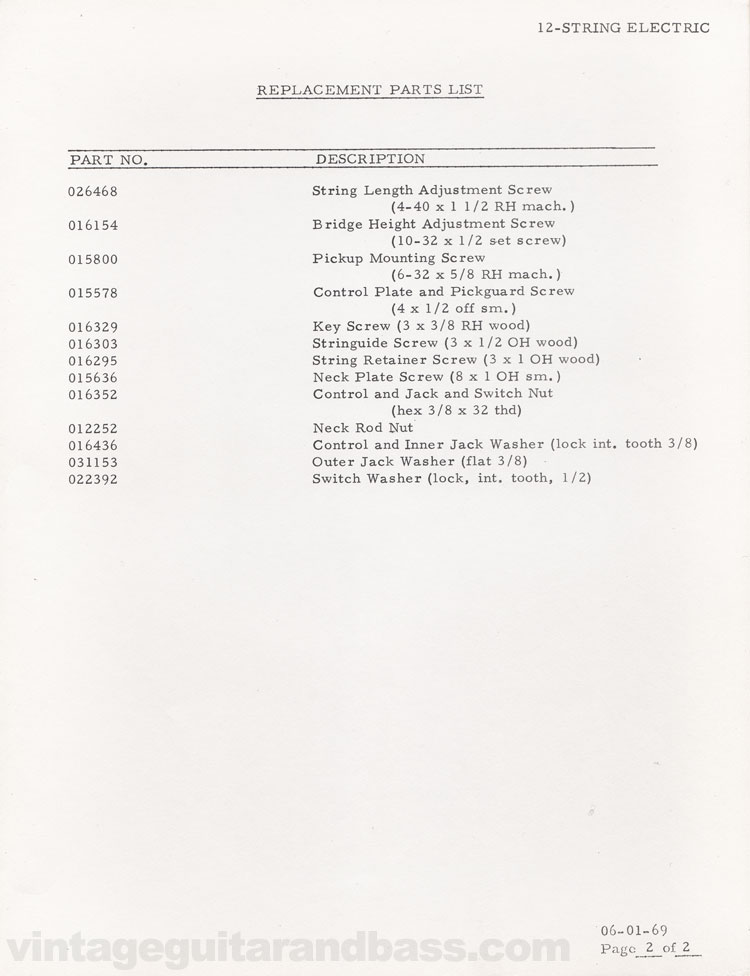 Replacement part list for the Fender 12-String electric guitar - 1969, page 2
