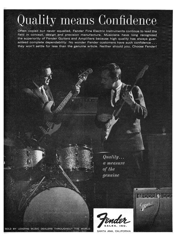 Fender advertisement (1963) Quality Means Confidence