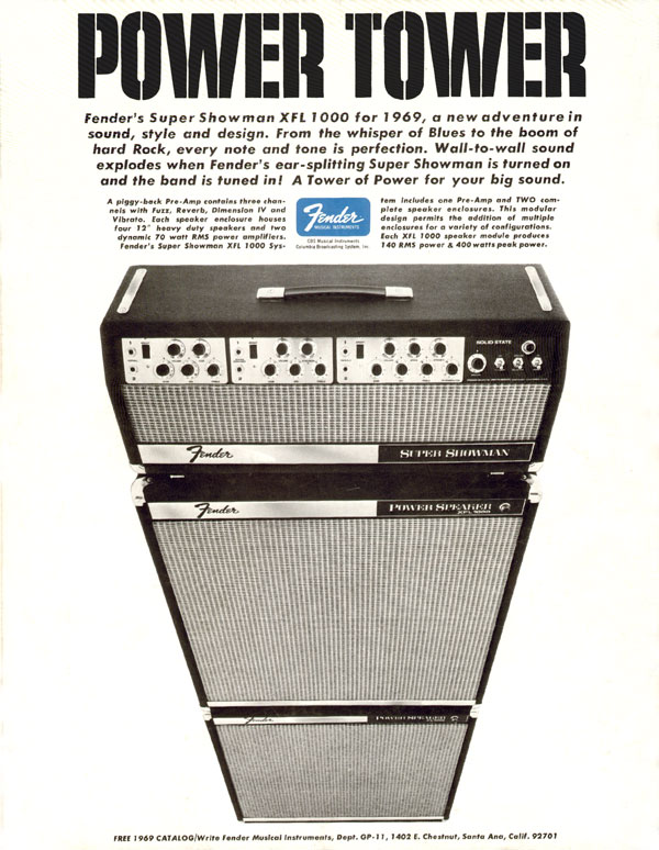 Fender advertisement (1969) Power Tower