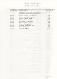 Fender Bronco 1969 parts list page 4