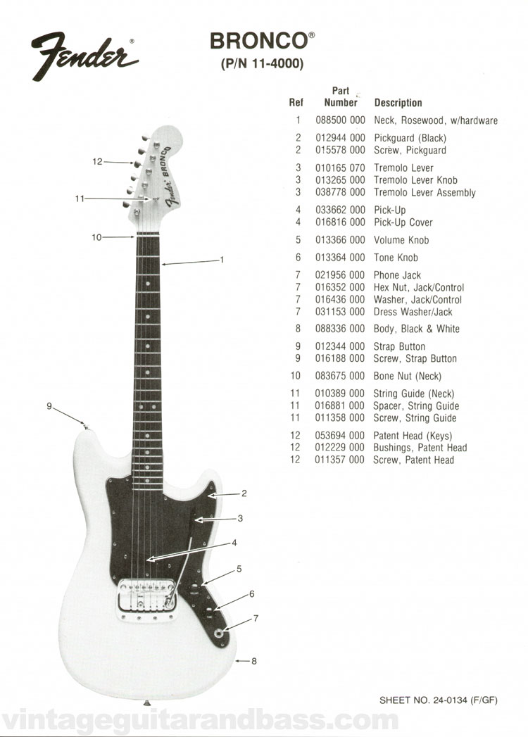 Replacement part list for the Fender Bronco electric guitar - 1976, page 1