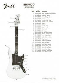 Fender Bronco 1976 parts list page 1