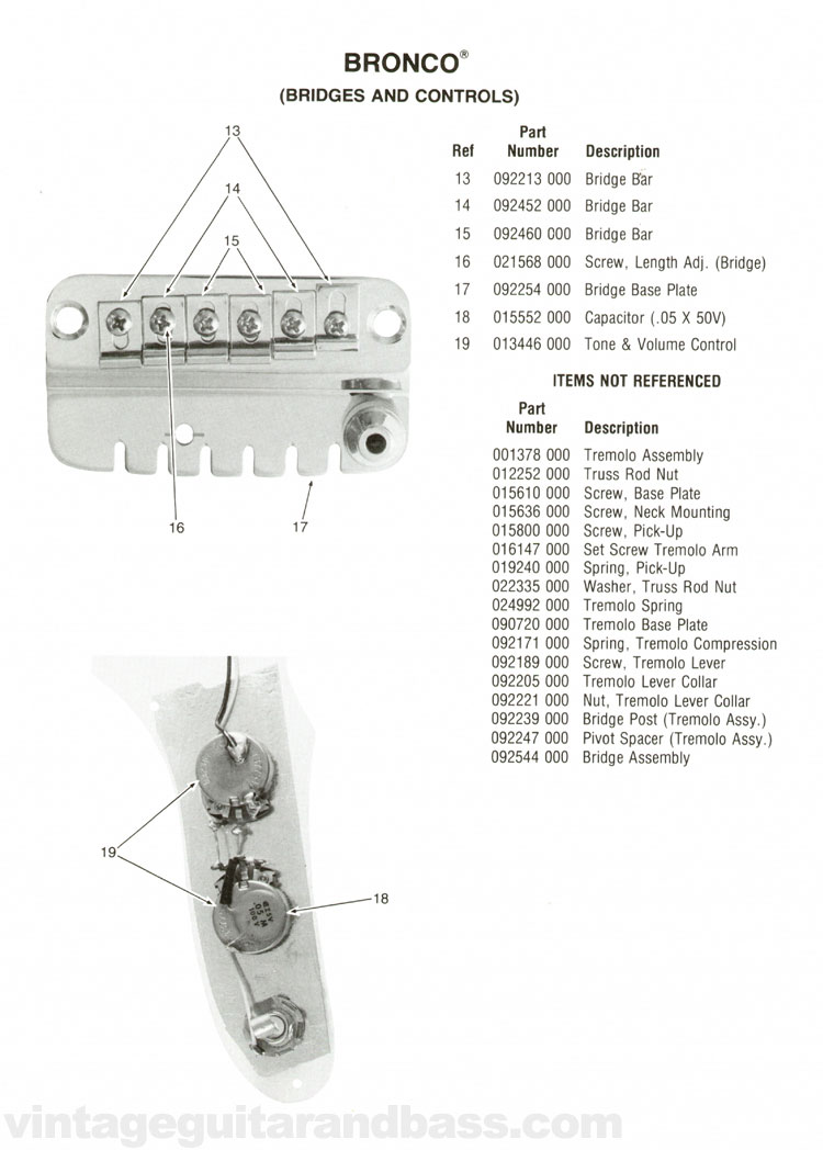Replacement part list for the Fender Bronco electric guitar - 1976, page 2