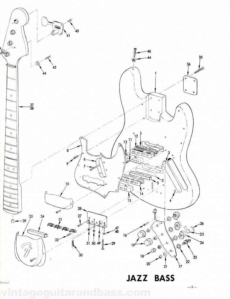 Replacement parts list for the 1968 Fender Jazz bass guitar - part 5