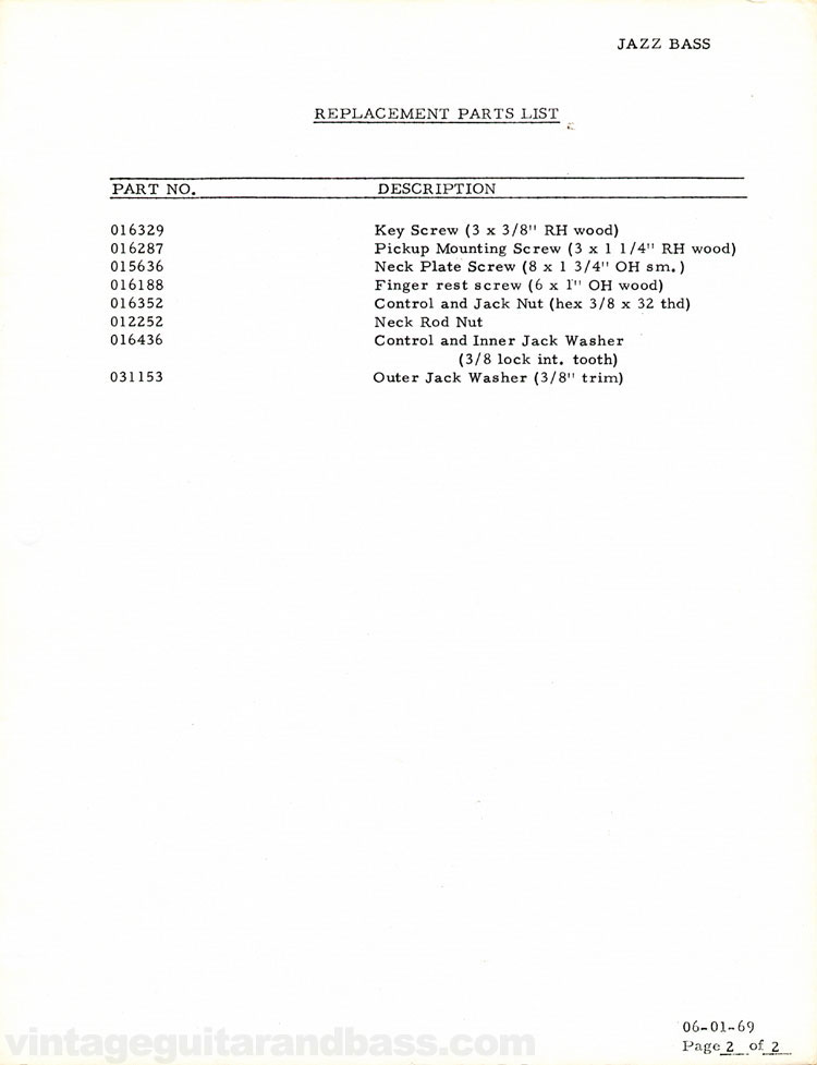 Replacement parts list for the 1969 Fender Jazz bass guitar - part 2