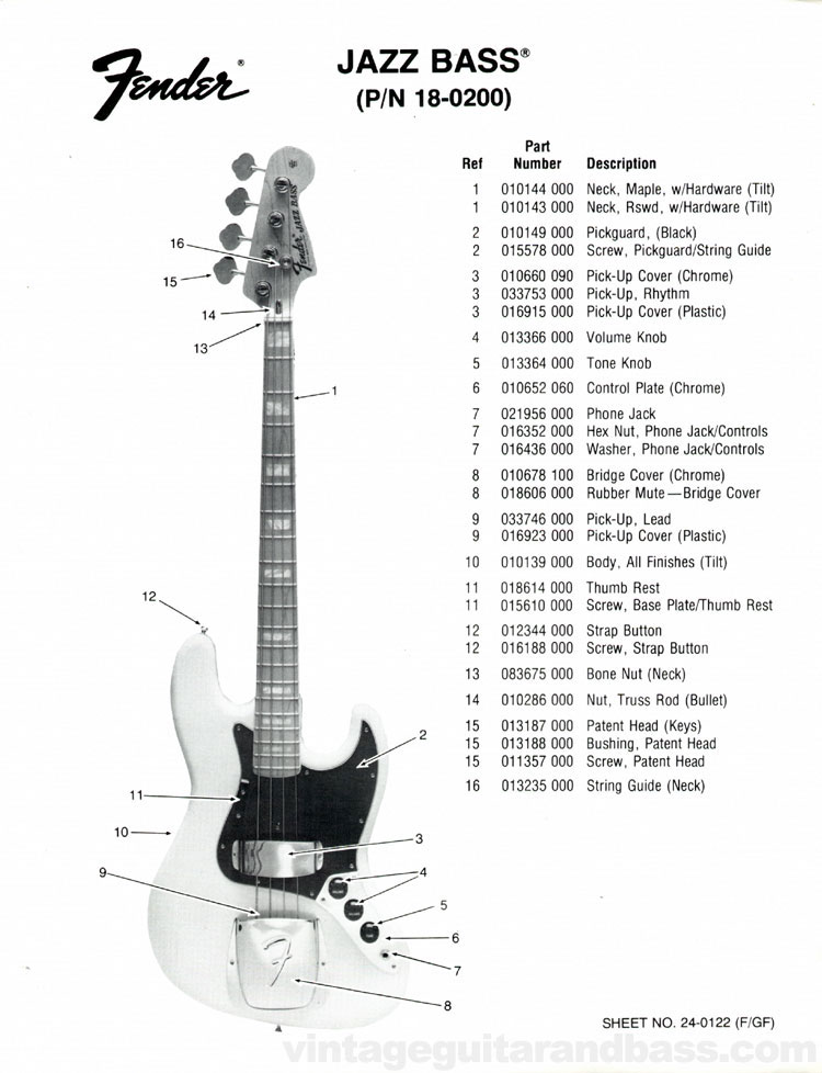Fender Jazz Bass Part List 1976