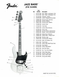 Fender Jazz 1976 parts list page 1