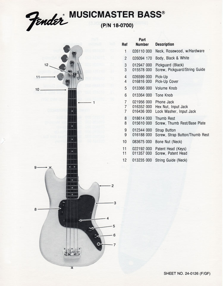 Replacement parts list for the 1976 Fender Musicmaster bass guitar - part 1
