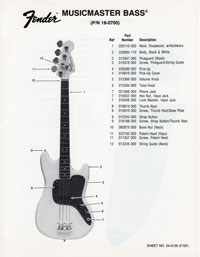 Fender Musicmaster 1976 parts list page 1