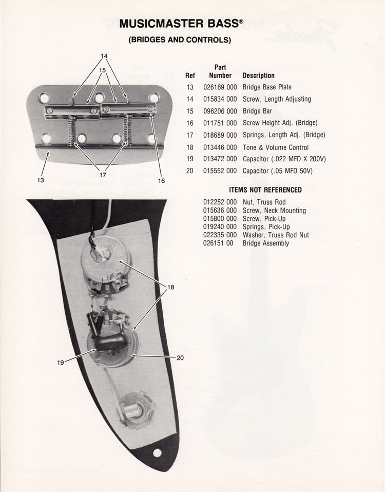 Replacement parts list for the 1976 Fender Musicmaster bass guitar - part 2
