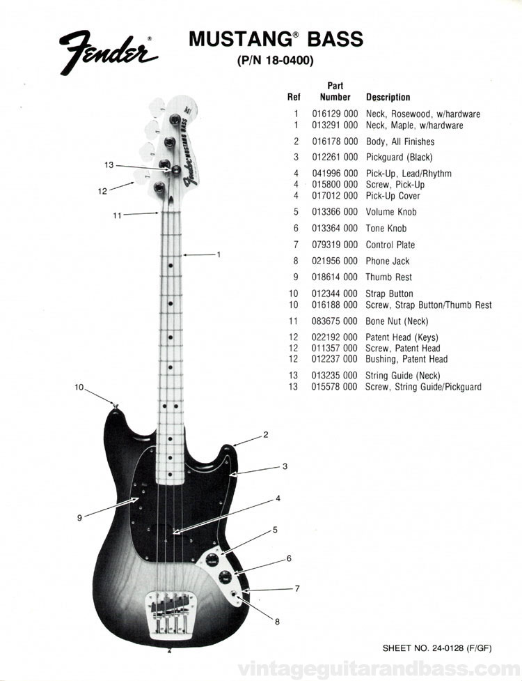 Replacement parts list for the 1976 Fender Mustang bass guitar - part 1