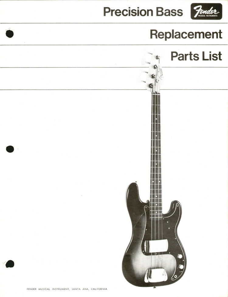 Replacement parts list for the 1968 Fender Precision bass guitar - part 1