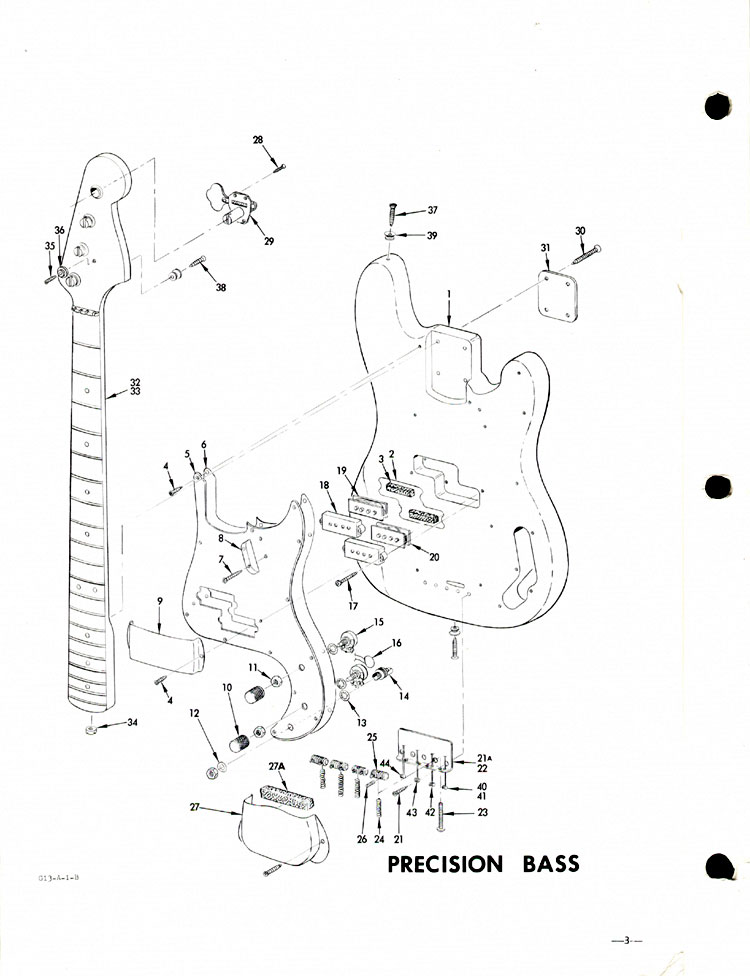 Replacement parts list for the 1968 Fender Precision bass guitar - part 4