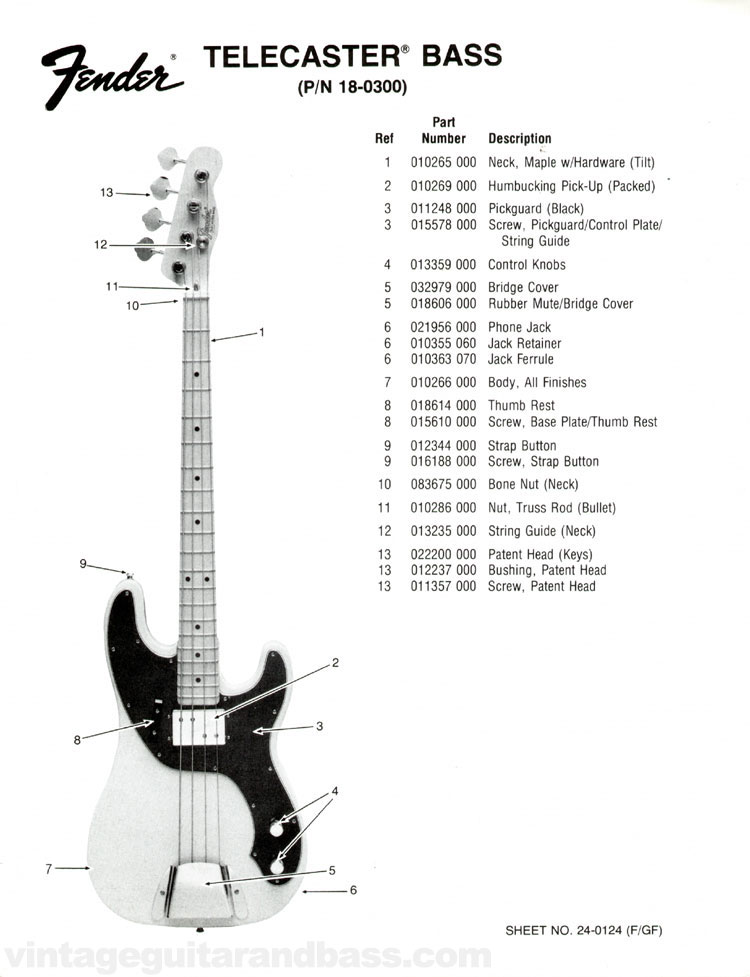 Fender Telecaster Bass Part List 1976