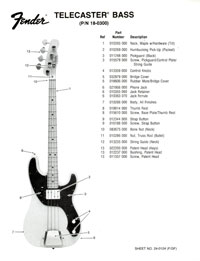 Fender Telecaster 1976 parts list page 1