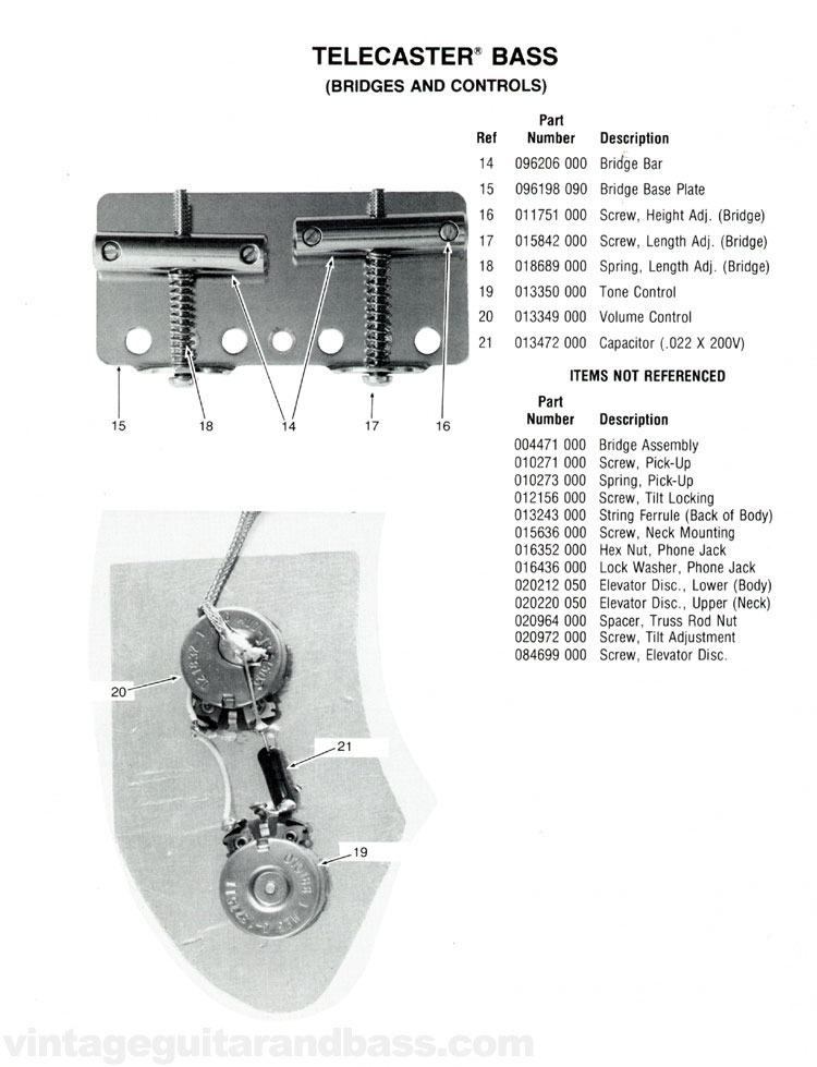 Replacement parts list for the 1976 Fender Telecaster bass guitar - part 2