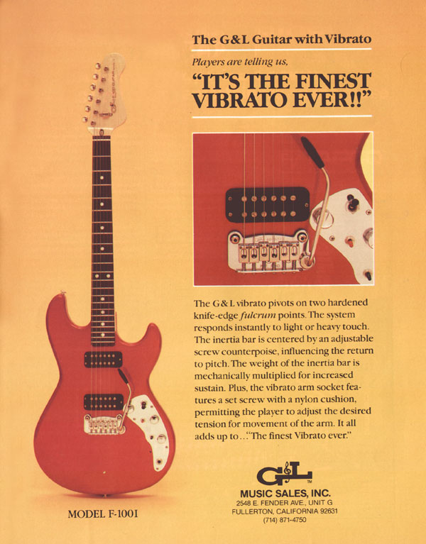 G&L advertisement (1982) Its the finest vibrato ever