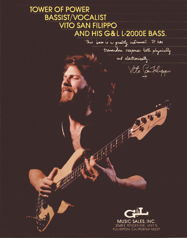 G&L advertisement (1982) Tower of Power Bassist/Vocalist Vito San Filippo and his G&L L-2000E Bass