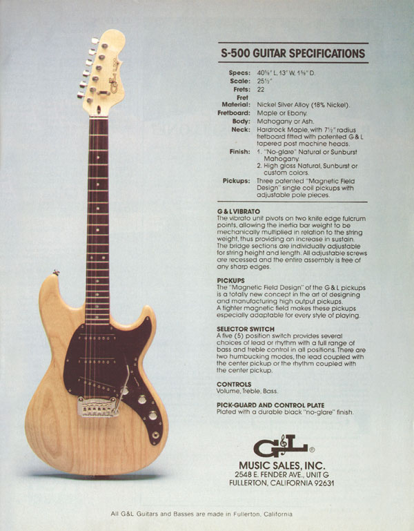 G&L advertisement (1982) S-500 Guitar Specifications