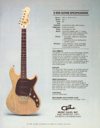 G&L S-500 - S-500 Guitar Specifications