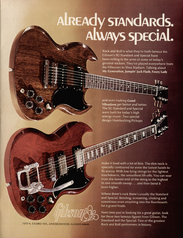 Gibson advertisement (1973) Already Standards, Always Special