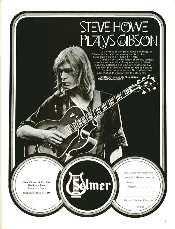 Gibson advertisement (1971) Steve Howe plays Gibson