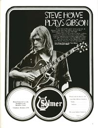Steve Howe plays Gibson - 1971. UK Selmer advertisement for Gibson guitars