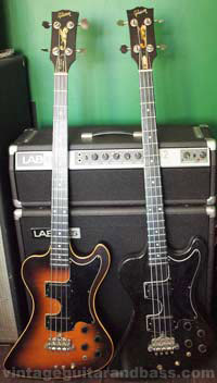 Two Gibson RD Artist basses with a LABseries L2 bass amplifier