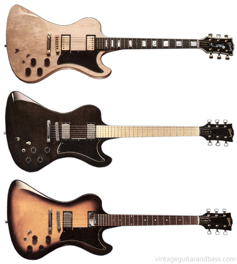 From top to bottom, the Gibson RD Artist, RD Custom, and RD Standard guitars