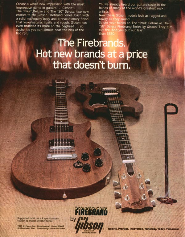 Gibson advertisement (1980) The Firebrands. Hot New Brands at a Price that Doesn