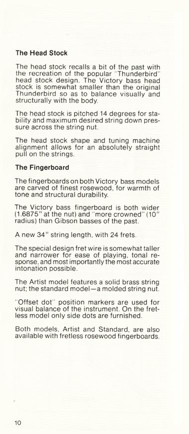 1981 Gibson Victory bass owners manual page 10