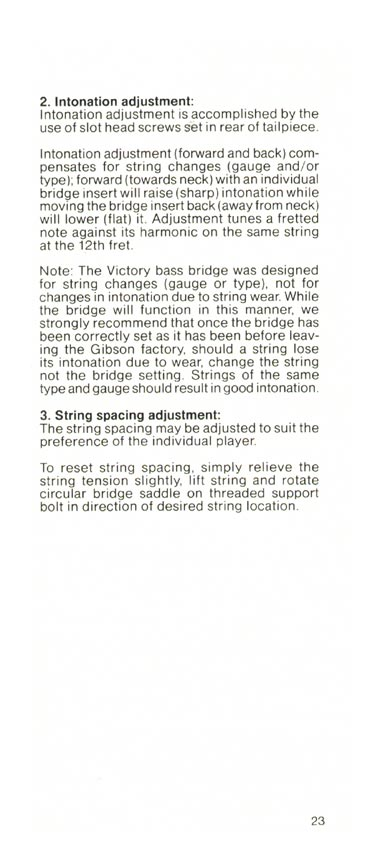 1981 Gibson Victory bass owners manual page 23