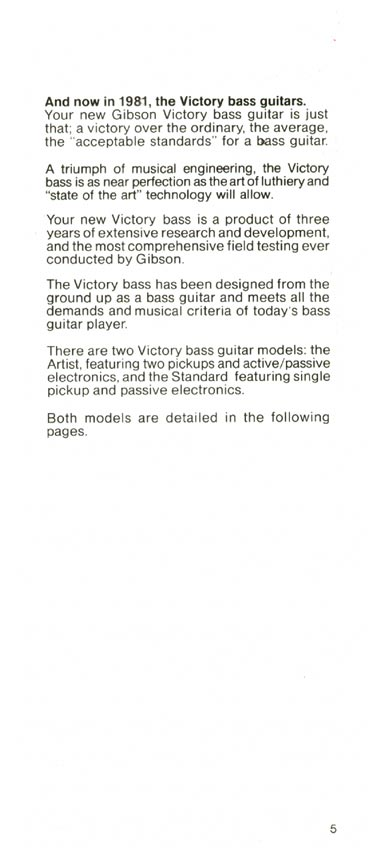 1981 Gibson Victory bass owners manual page 5