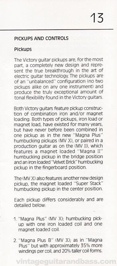1981 Gibson Victory MV Owners Manual page 13