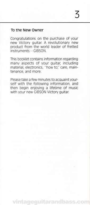 1981 Gibson Victory MV Owners Manual page 3
